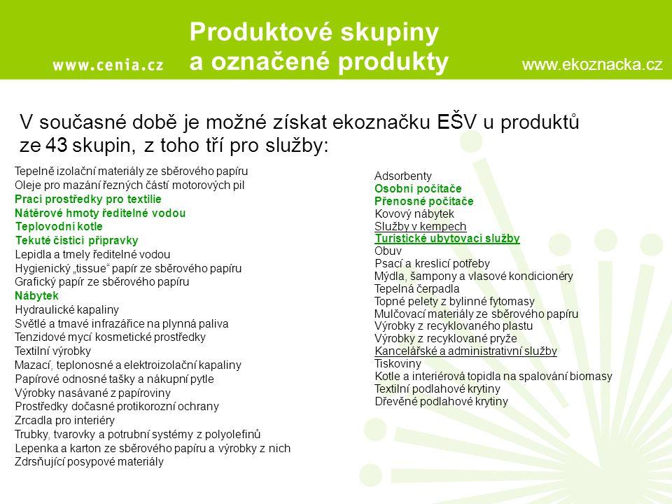 Produktové skupiny a označené produkty V současné době je možné získat ekoznačku EŠV u produktů zej43jskupin, z toho tří pro služby: Tepelně izolační