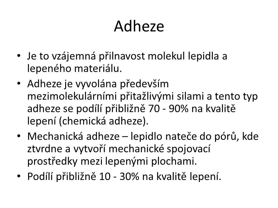 Adheze Je to vzájemná přilnavost molekul lepidla a lepeného materiálu. Adheze je vyvolána především mezimolekulárními přitažlivými silami a tento typ