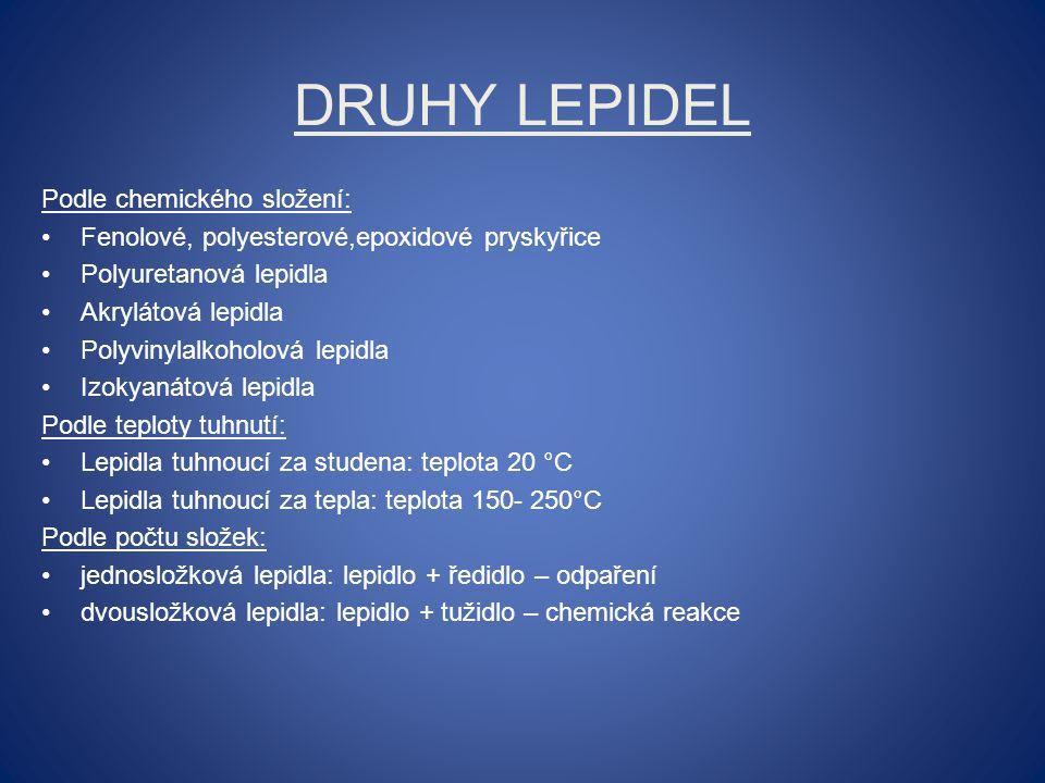 DRUHY LEPIDEL Podle chemického složení: Fenolové, polyesterové,epoxidové pryskyřice Polyuretanová lepidla Akrylátová lepidla Polyvinylalkoholová lepid