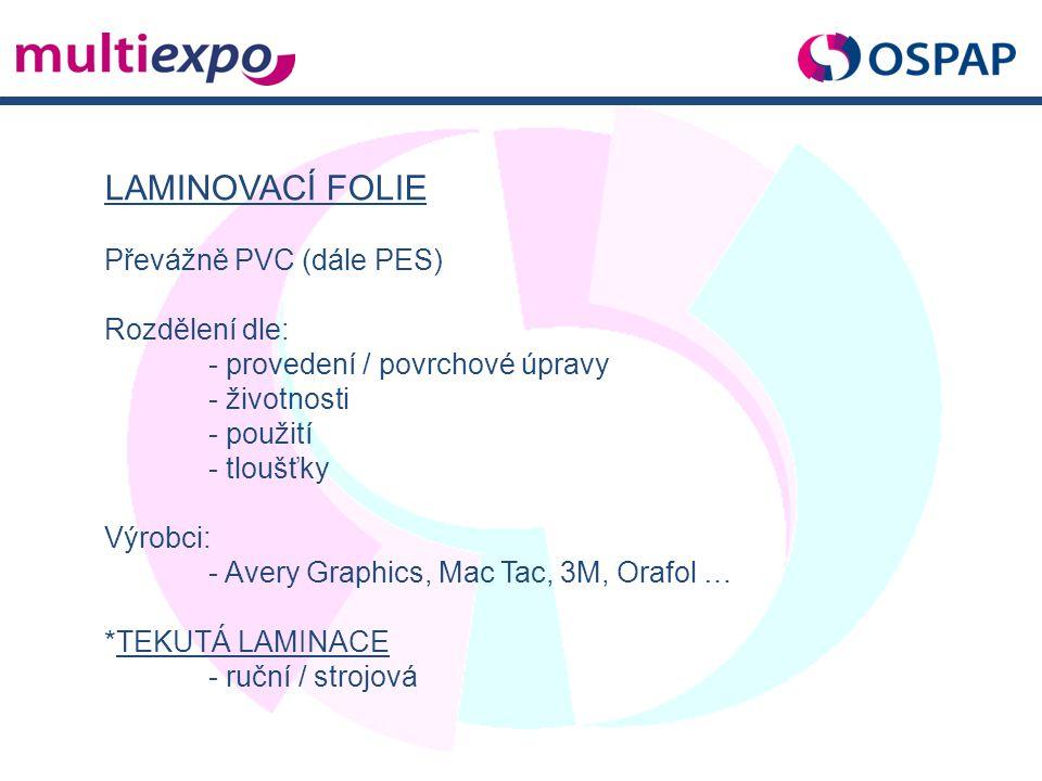 LAMINOVACÍ FOLIE Převážně PVC (dále PES) Rozdělení dle: - provedení / povrchové úpravy - životnosti - použití - tloušťky Výrobci: - Avery Graphics, Ma