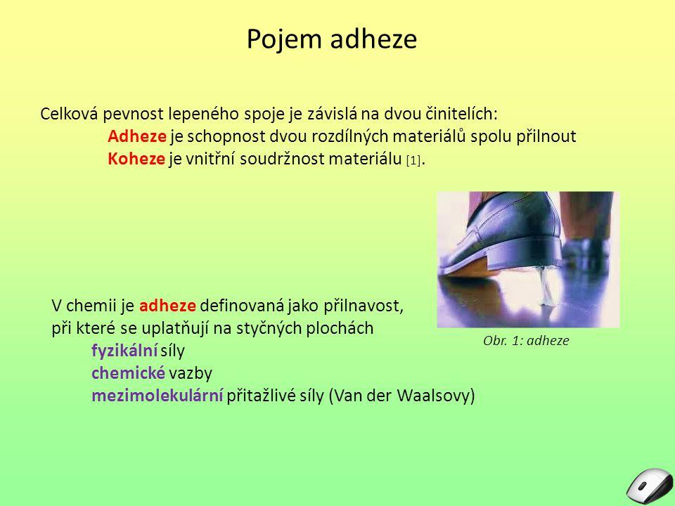 Pojem adheze Celková pevnost lepeného spoje je závislá na dvou činitelích: Adheze je schopnost dvou rozdílných materiálů spolu přilnout Koheze je vnitřní soudržnost materiálu [1].