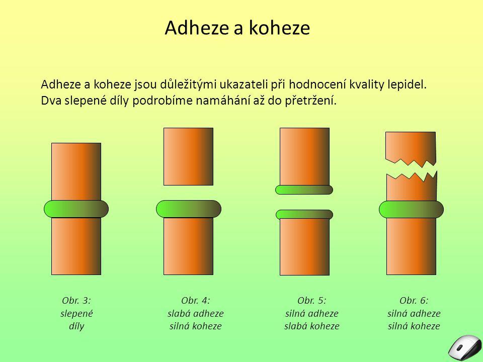 Adheze a koheze Adheze a koheze jsou důležitými ukazateli při hodnocení kvality lepidel.