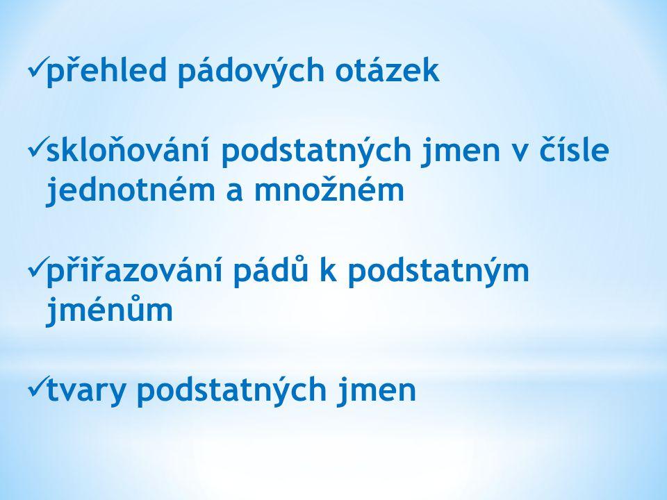 Přehled pádů podstatných jmen: 1.pád Kdo . Co. 2.
