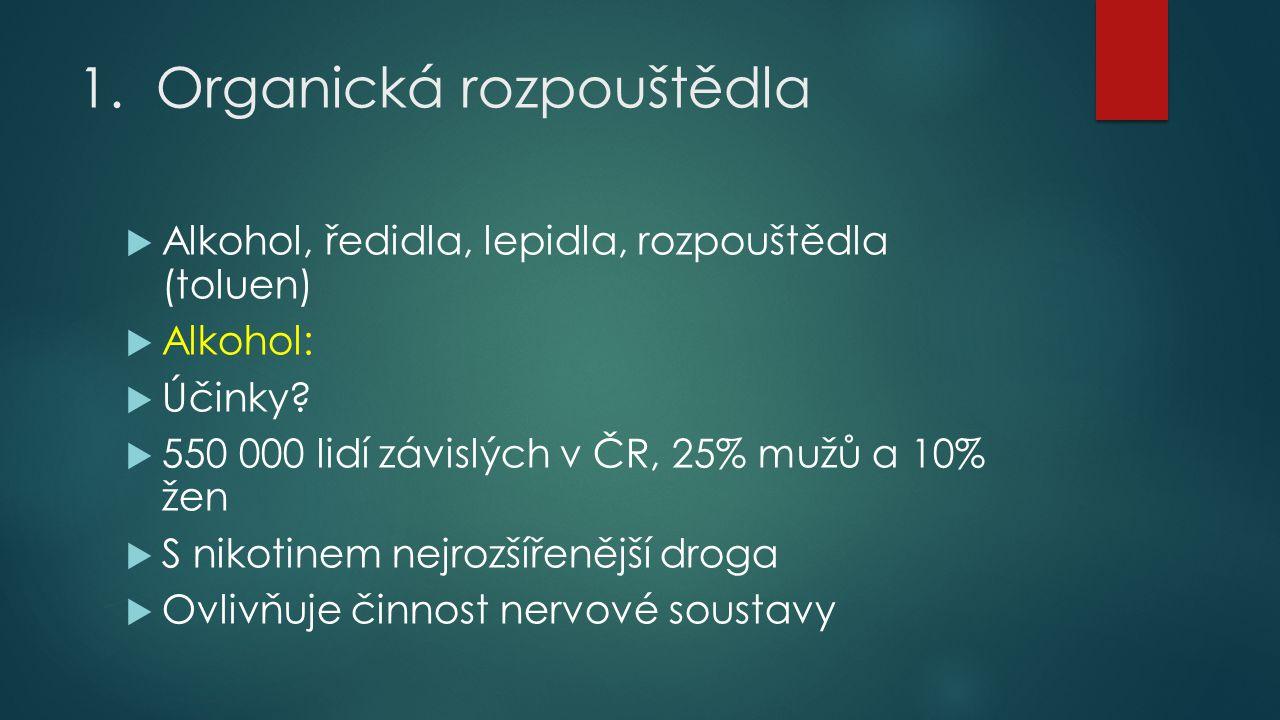 1.Organická rozpouštědla  Alkohol, ředidla, lepidla, rozpouštědla (toluen)  Alkohol:  Účinky?  550 000 lidí závislých v ČR, 25% mužů a 10% žen  S