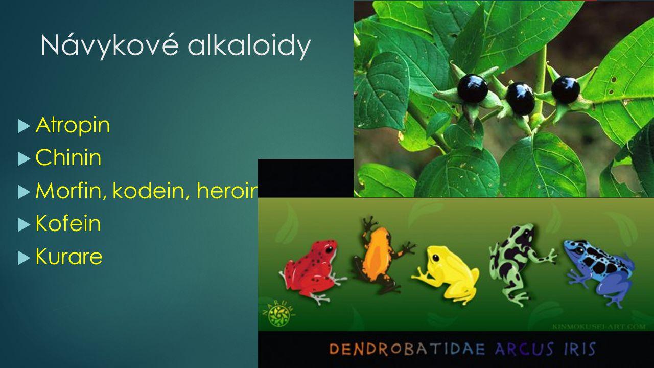 Návykové alkaloidy  Atropin  Chinin  Morfin, kodein, heroin  Kofein  Kurare