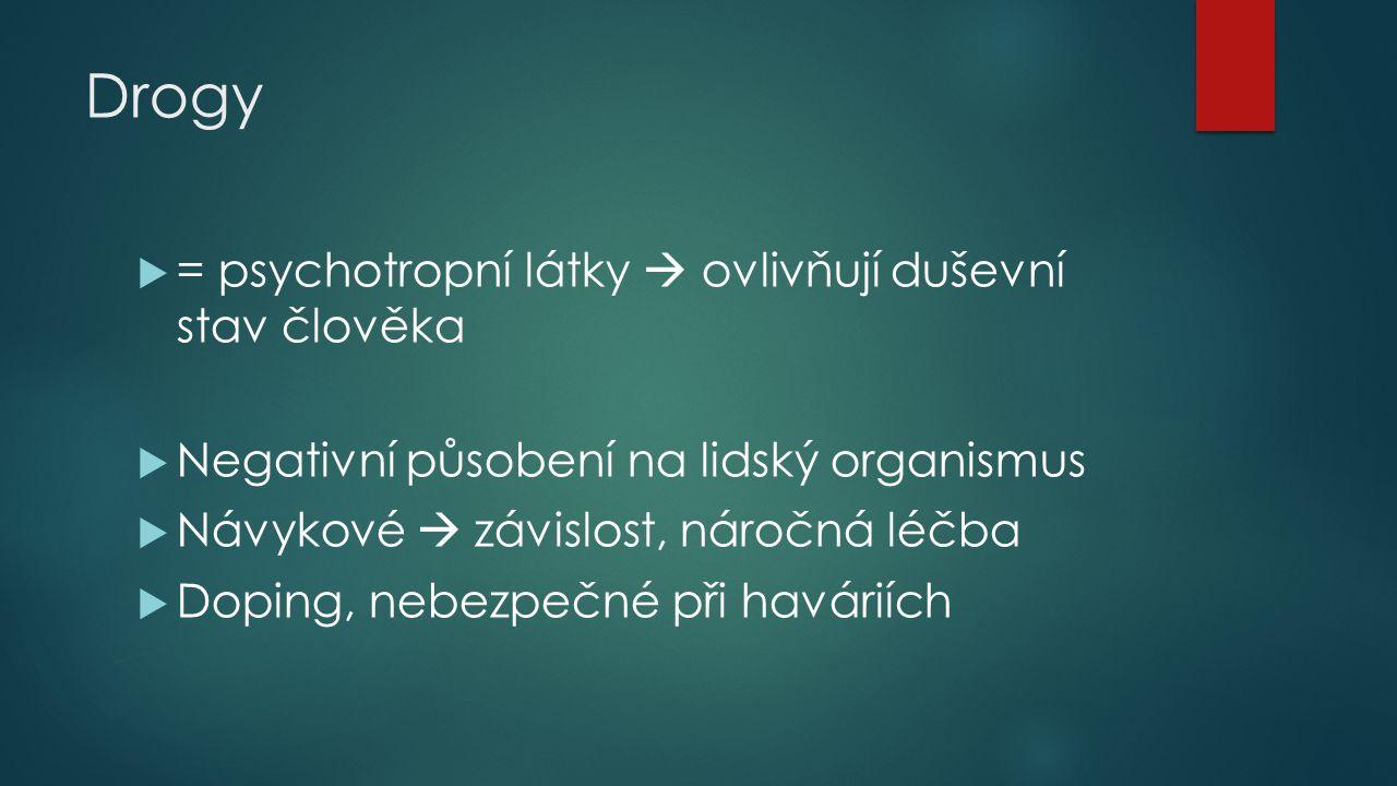 3.Tlumivé léky (sedativa)  Uklidnění organizmu, tlumí činnost CNS  Léky na spaní - rohypnol