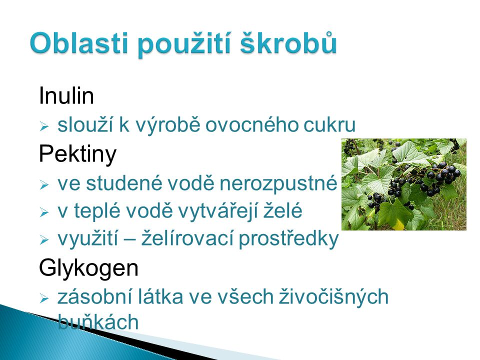 Inulin  slouží k výrobě ovocného cukru Pektiny  ve studené vodě nerozpustné  v teplé vodě vytvářejí želé  využití – želírovací prostředky Glykogen  zásobní látka ve všech živočišných buňkách