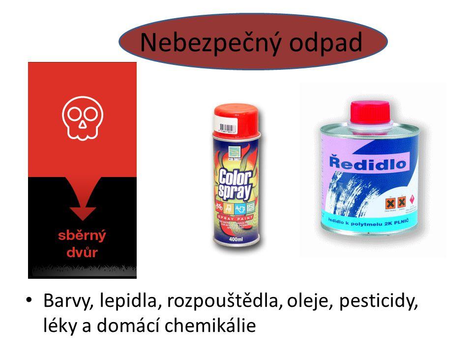 Nebezpečný odpad Barvy, lepidla, rozpouštědla, oleje, pesticidy, léky a domácí chemikálie