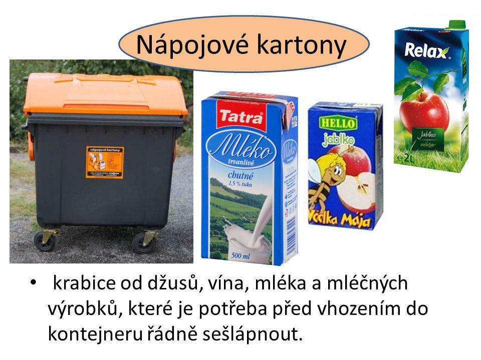 Nápojové kartony krabice od džusů, vína, mléka a mléčných výrobků, které je potřeba před vhozením do kontejneru řádně sešlápnout.