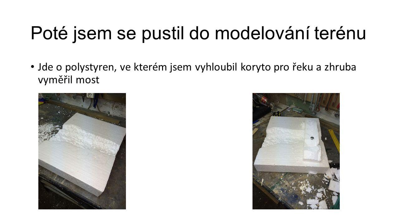 Pokračování na pracech - terén Na model jsem nanesl směs lepidla a hlíny Přidány dlaždice (sádra)