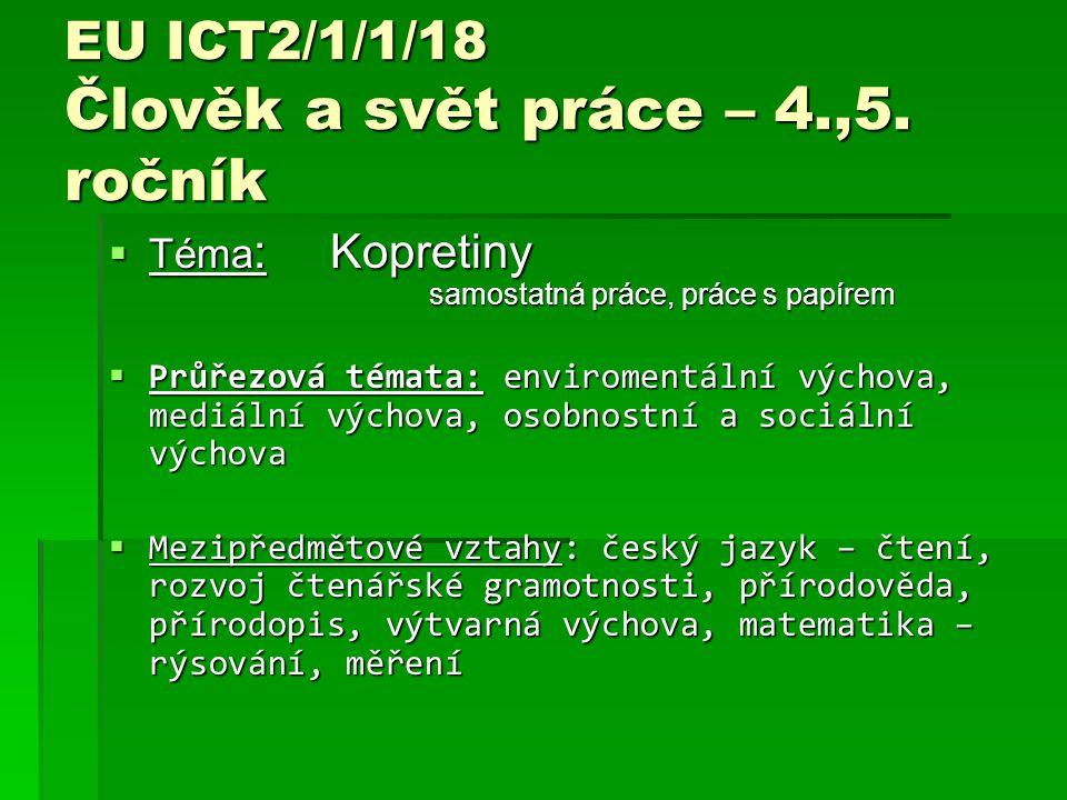 EU ICT2/1/1/18 Člověk a svět práce – 4.,5.