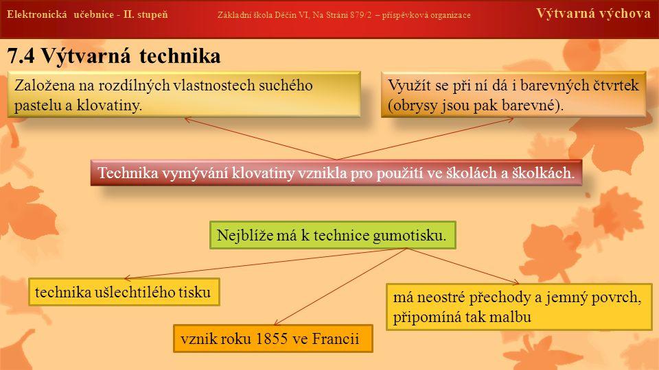 Elektronická učebnice -II. stupeň Základní škola Děčín VI, Na Stráni 879/2 – příspěvková organizace Výtvarná výchova 7.4 Výtvarná technika Elektronick
