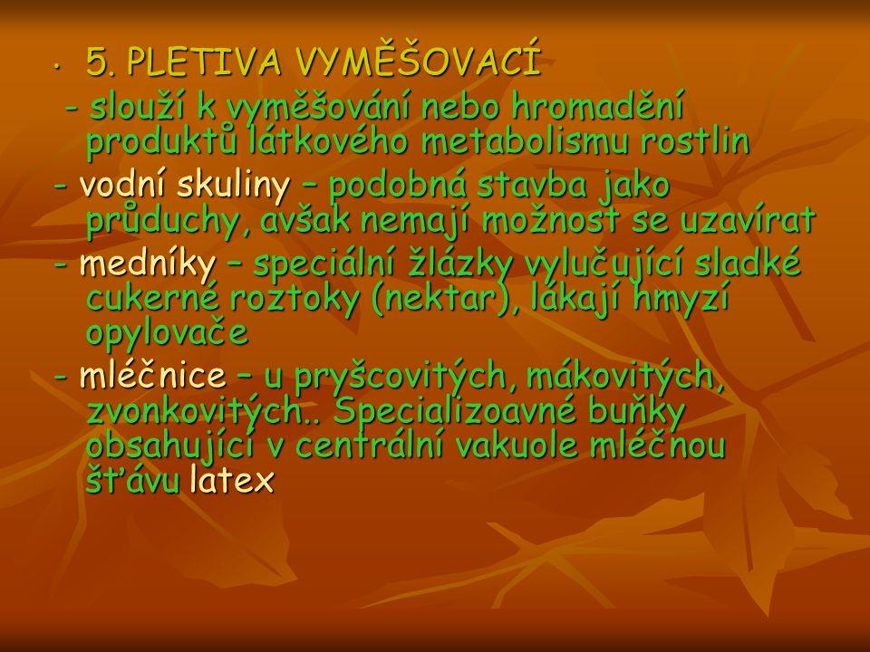 5. PLETIVA VYMĚŠOVACÍ 5. PLETIVA VYMĚŠOVACÍ - slouží k vyměšování nebo hromadění produktů látkového metabolismu rostlin - slouží k vyměšování nebo hro