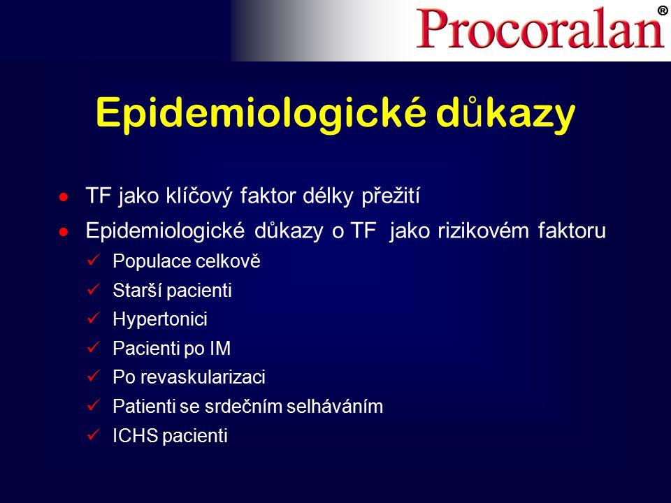 ® Epidemiologické d ů kazy l TF jako klíčový faktor délky přežití l Epidemiologické důkazy o TF jako rizikovém faktoru Populace celkově Starší pacienti Hypertonici Pacienti po IM Po revaskularizaci Patienti se srdečním selháváním ICHS pacienti