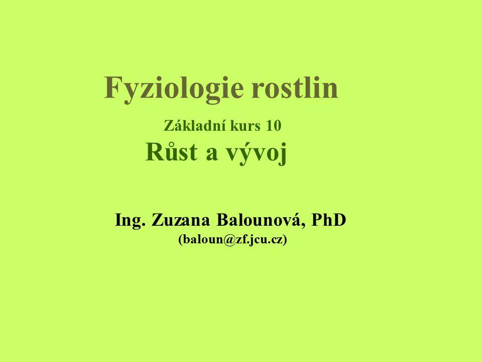 Fyziologie rostlin Ing. Zuzana Balounová, PhD. (baloun@zf.jcu.cz) Základní kurs 10 Růst a vývoj