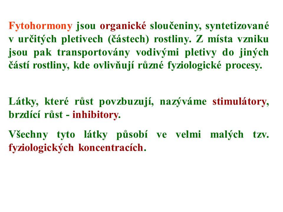 Fytohormony jsou organické sloučeniny, syntetizované v určitých pletivech (částech) rostliny. Z místa vzniku jsou pak transportovány vodivými pletivy