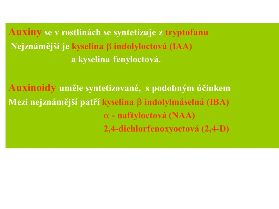 Auxiny se v rostlinách se syntetizuje z tryptofanu Nejznámější je kyselina  indolyloctová (IAA) a kyselina fenyloctová. Auxinoidy uměle syntetizované