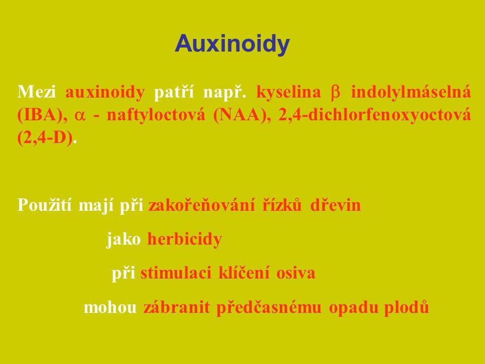 Mezi auxinoidy patří např. kyselina  indolylmáselná (IBA),  - naftyloctová (NAA), 2,4-dichlorfenoxyoctová (2,4-D). Použití mají při zakořeňování ří