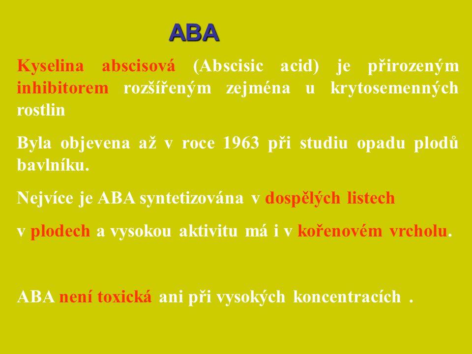 Kyselina abscisová (Abscisic acid) je přirozeným inhibitorem rozšířeným zejména u krytosemenných rostlin Byla objevena až v roce 1963 při studiu opadu