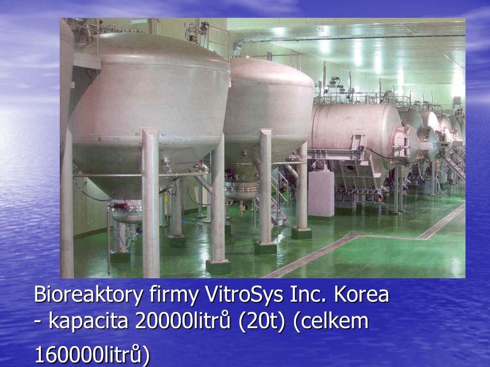 Bioreaktory firmy VitroSys Inc. Korea - kapacita 20000litrů (20t) (celkem 160000litrů)