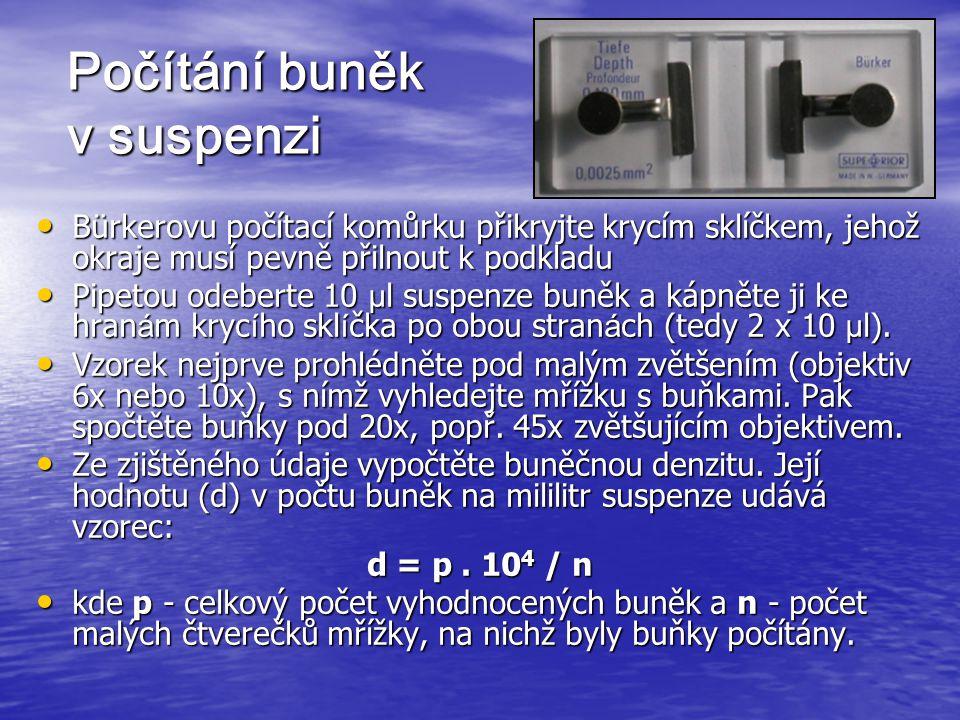Počítání buněk v suspenzi Bürkerovu počítací komůrku přikryjte krycím sklíčkem, jehož okraje musí pevně přilnout k podkladu Bürkerovu počítací komůrku