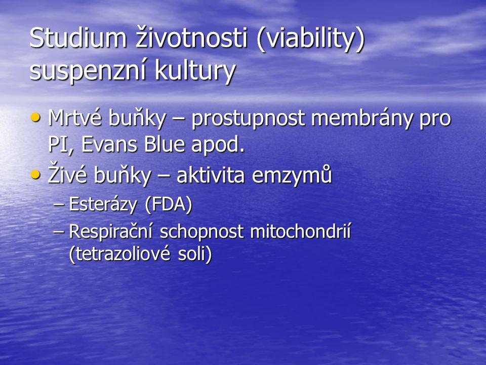Studium životnosti (viability) suspenzní kultury Mrtvé buňky – prostupnost membrány pro PI, Evans Blue apod. Mrtvé buňky – prostupnost membrány pro PI