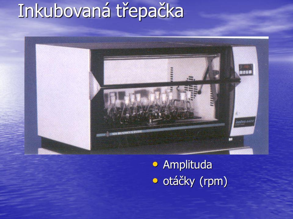 Inkubovaná třepačka Amplituda Amplituda otáčky (rpm) otáčky (rpm)