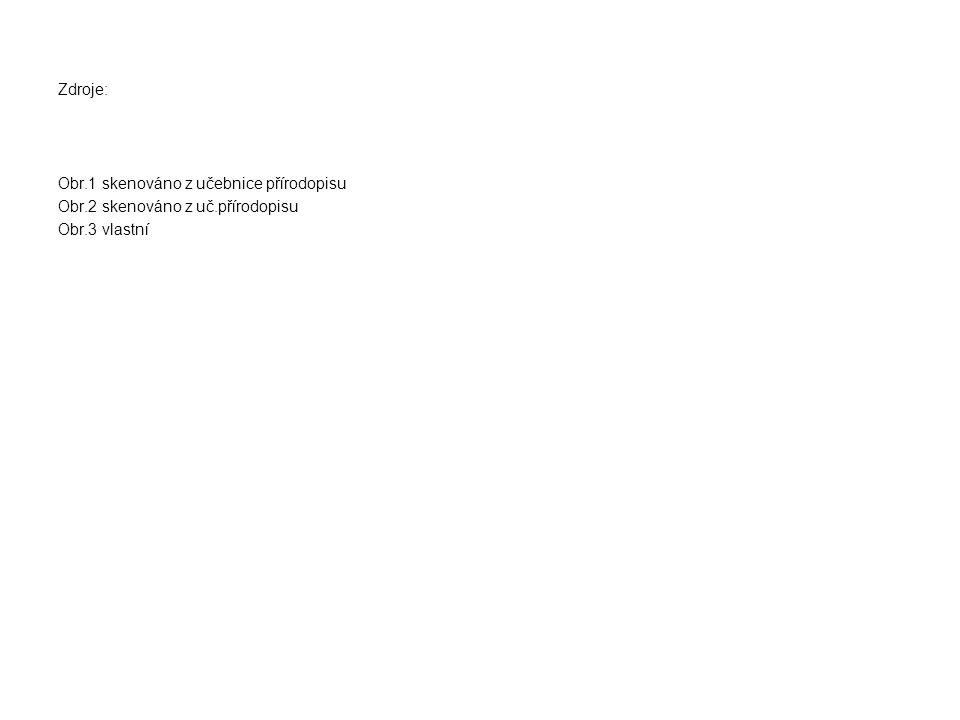 Zdroje: Obr.1 skenováno z učebnice přírodopisu Obr.2 skenováno z uč.přírodopisu Obr.3 vlastní
