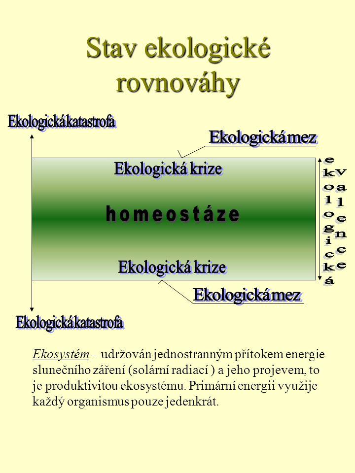 Ekosystém – udržován jednostranným přítokem energie slunečního záření (solární radiací ) a jeho projevem, to je produktivitou ekosystému.