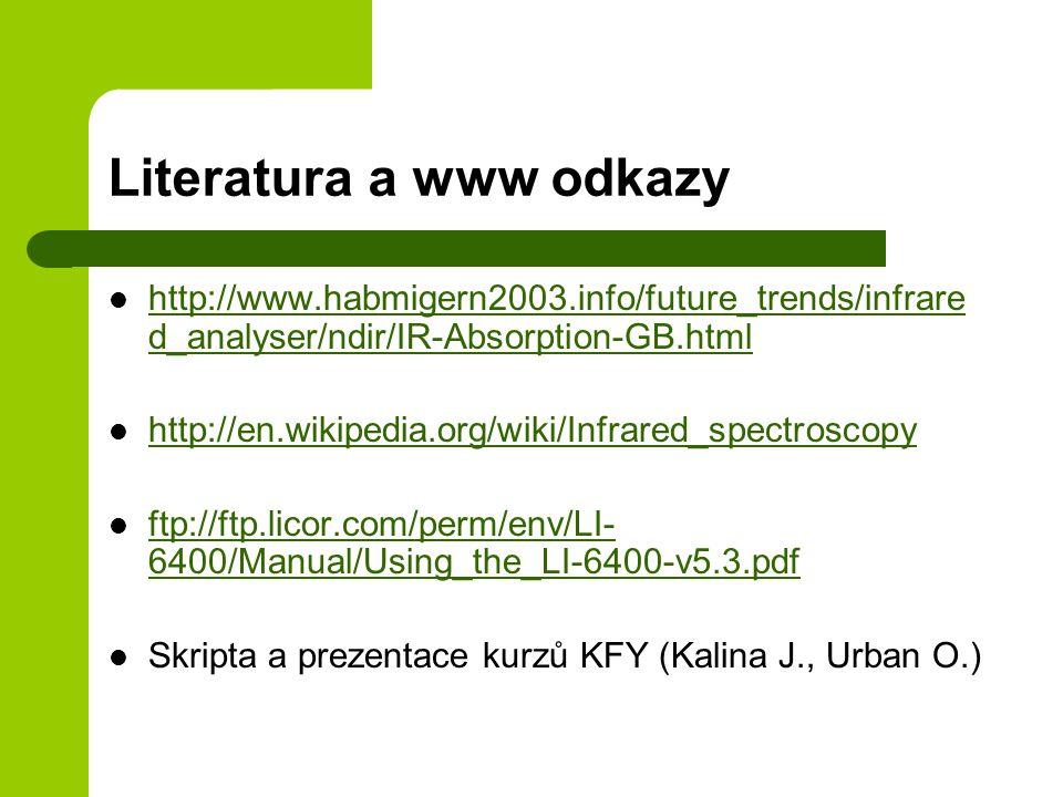 Literatura a www odkazy http://www.habmigern2003.info/future_trends/infrare d_analyser/ndir/IR-Absorption-GB.html http://www.habmigern2003.info/future_trends/infrare d_analyser/ndir/IR-Absorption-GB.html http://en.wikipedia.org/wiki/Infrared_spectroscopy ftp://ftp.licor.com/perm/env/LI- 6400/Manual/Using_the_LI-6400-v5.3.pdf ftp://ftp.licor.com/perm/env/LI- 6400/Manual/Using_the_LI-6400-v5.3.pdf Skripta a prezentace kurzů KFY (Kalina J., Urban O.)