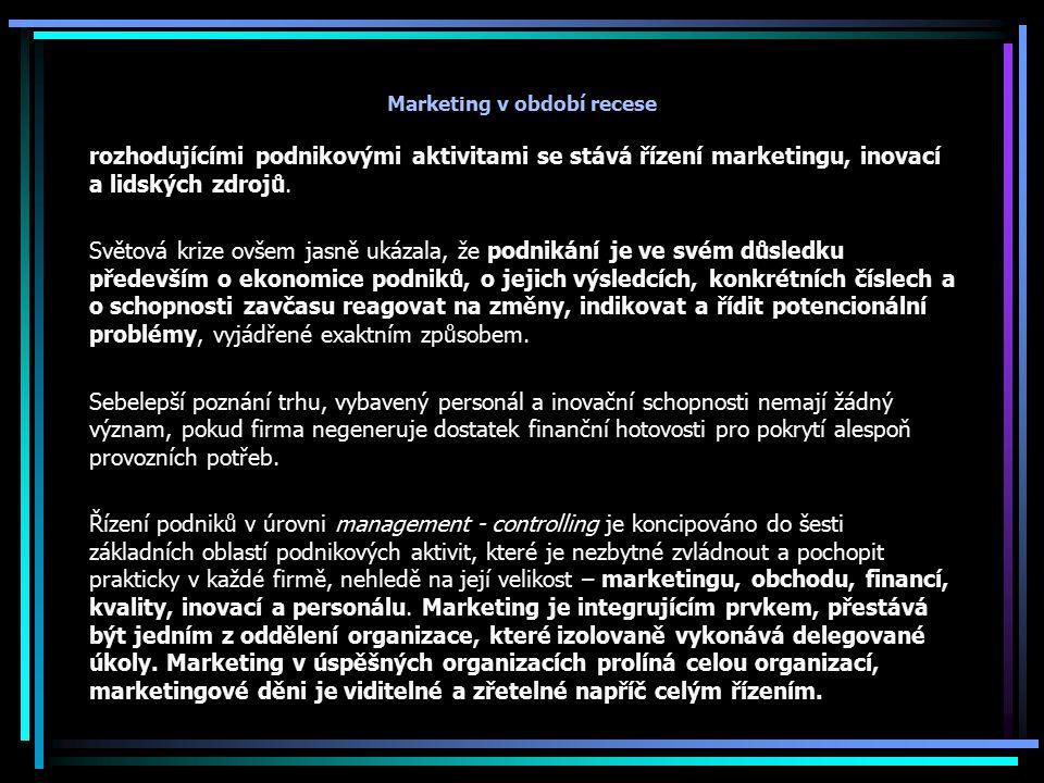 Marketing v období recese rozhodujícími podnikovými aktivitami se stává řízení marketingu, inovací a lidských zdrojů. Světová krize ovšem jasně ukázal