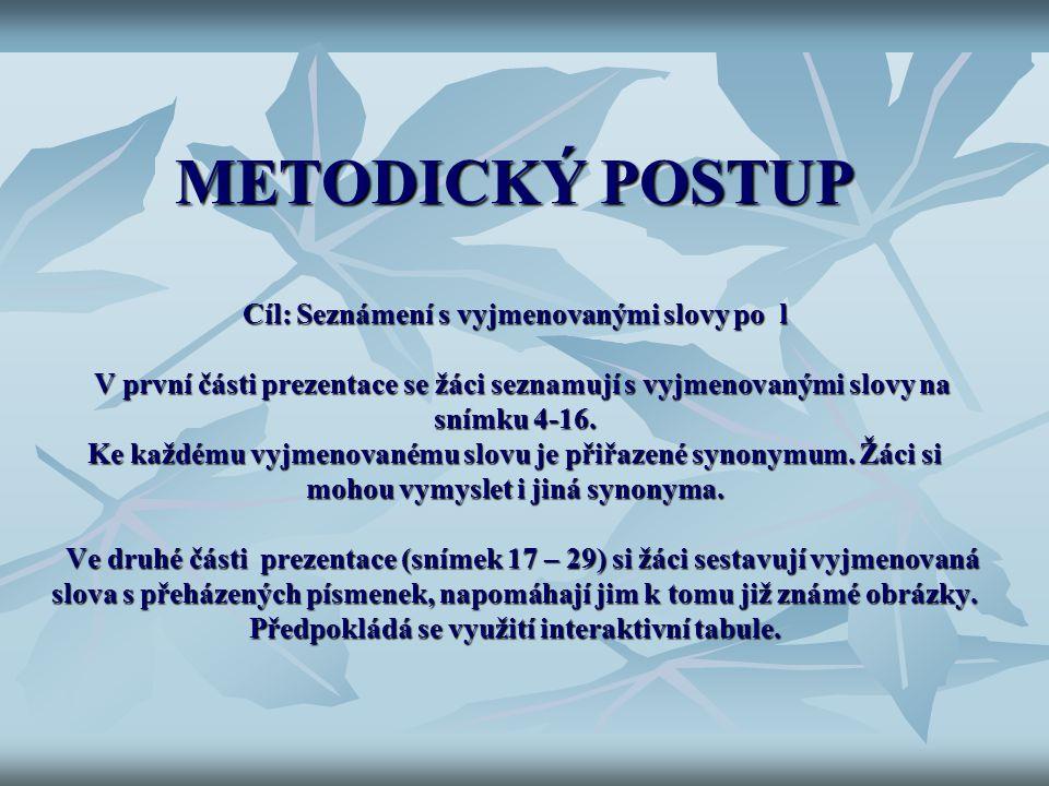 METODICKÝ POSTUP Cíl: Seznámení s vyjmenovanými slovy po l V první části prezentace se žáci seznamují s vyjmenovanými slovy na snímku 4-16. Ke každému