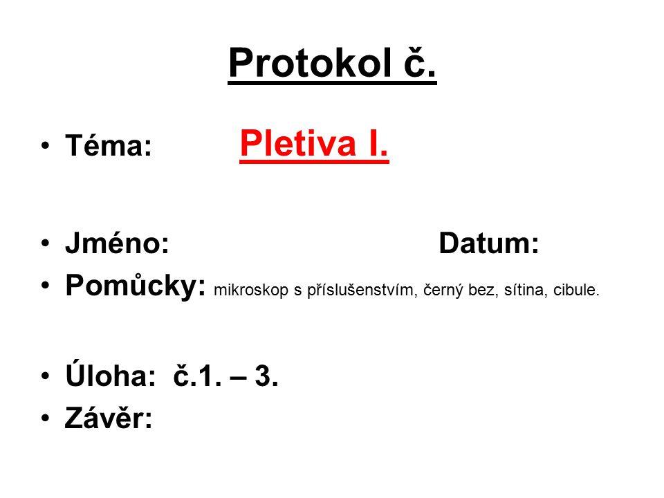 Protokol č.Téma: Pletiva I.