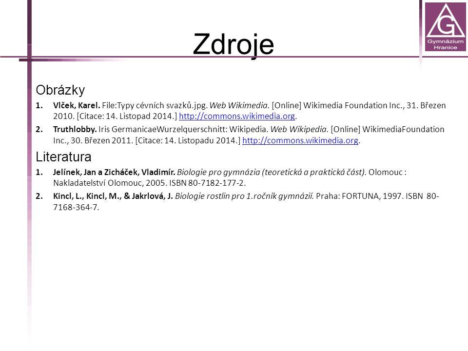 Zdroje Obrázky 1.Vlček, Karel.File:Typy cévních svazků.jpg.