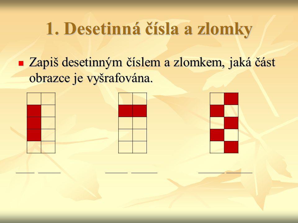 1.Desetinná čísla a zlomky Zapiš desetinným číslem a zlomkem, jaká část obrazce je vyšrafována.