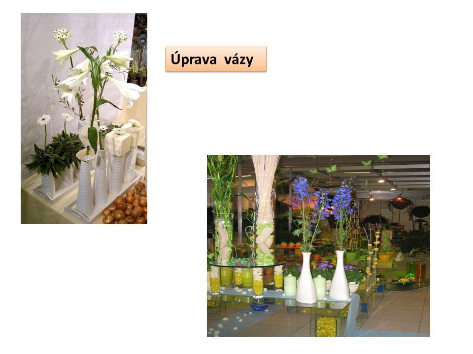 vázy : základem většiny květinových aranžmá podle materiálu rozdělujeme na: skleněné, proutěné, plastové, dřevěné, keramické, z přírodních vláken tvary nádob: kulovité, vejčité, kuželovité, válcové, hranaté vlastnosti nádob: stabilita, nepropustnost, vnitřní objem, vzhled Opakování