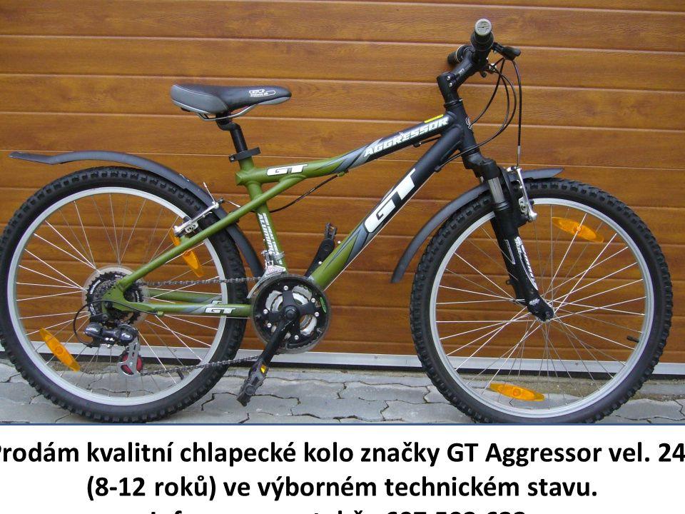 """Prodám kvalitní chlapecké kolo značky GT Aggressor vel. 24"""" (8-12 roků) ve výborném technickém stavu. Informace na tel.č.: 607 592 632."""
