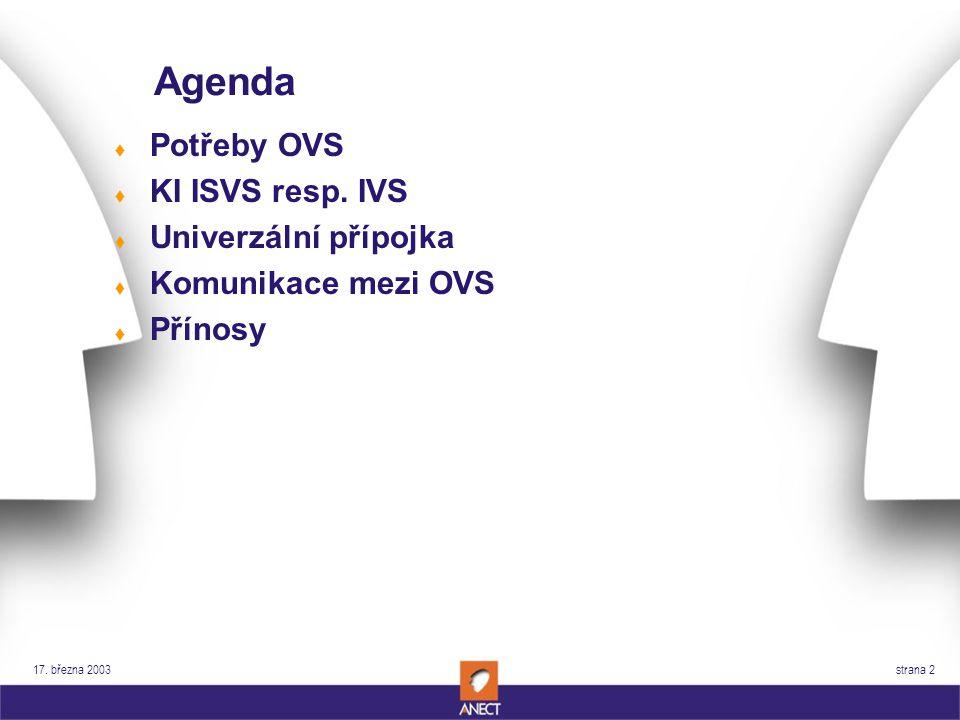 17. března 2003 strana 2 Agenda t Potřeby OVS t KI ISVS resp.