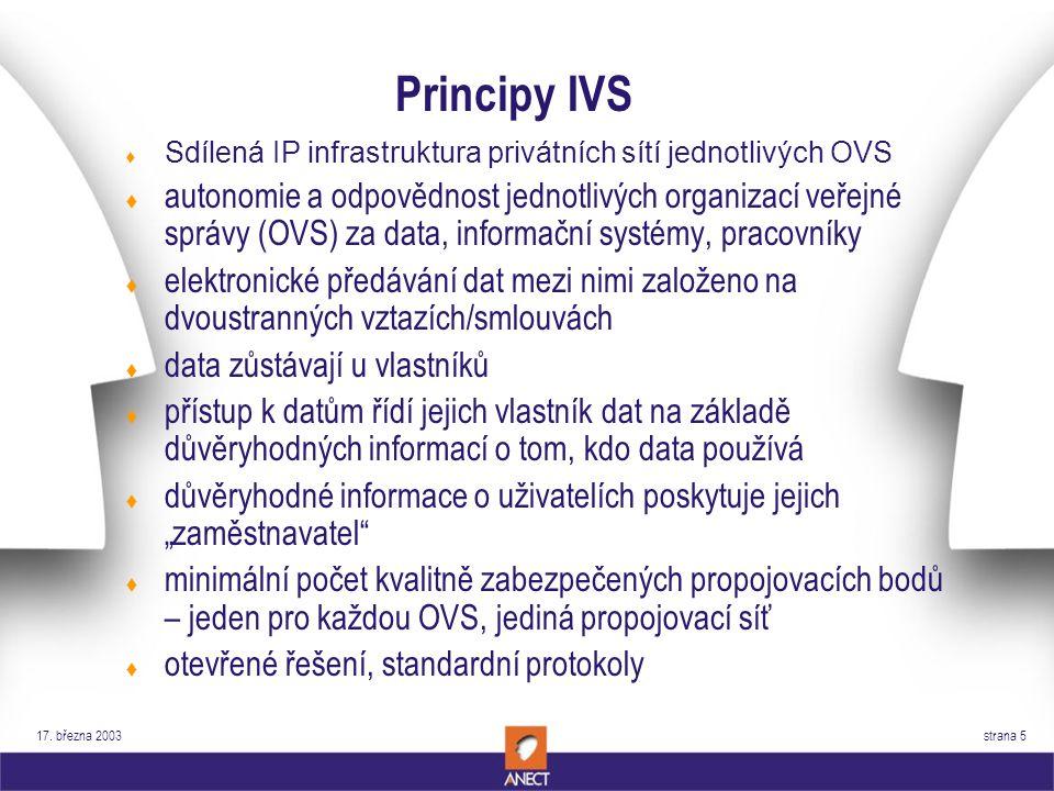 17. března 2003 strana 5 Principy IVS t Sdílená IP infrastruktura privátních sítí jednotlivých OVS t autonomie a odpovědnost jednotlivých organizací v