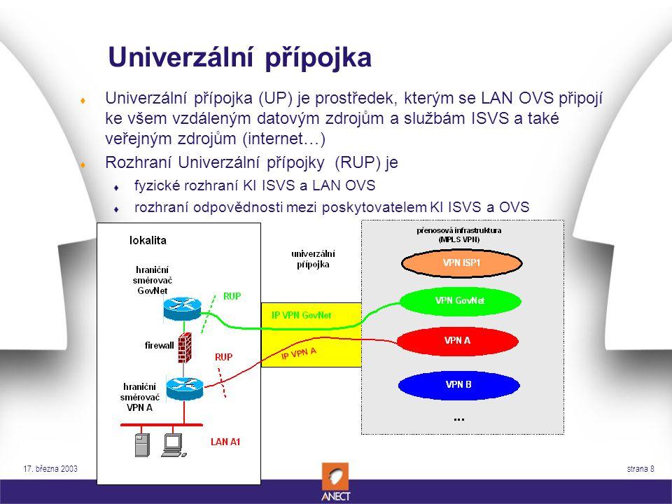 17. března 2003 strana 8 Univerzální přípojka t Univerzální přípojka (UP) je prostředek, kterým se LAN OVS připojí ke všem vzdáleným datovým zdrojům a