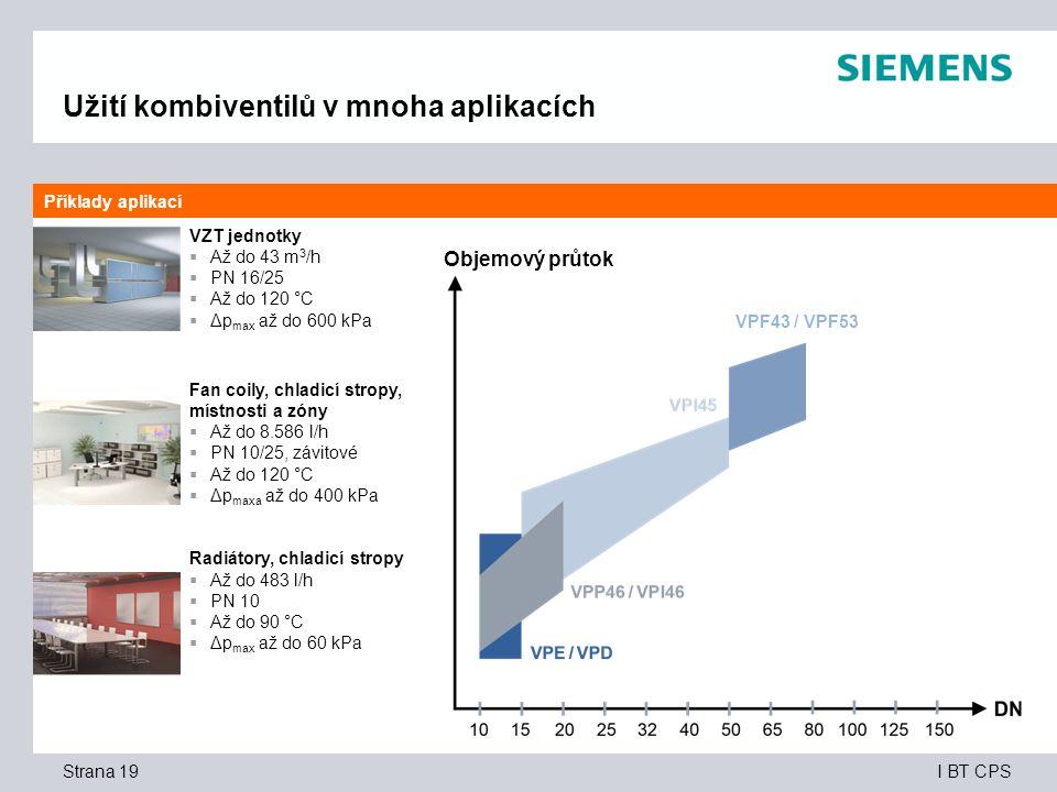 I BT CPS Užití kombiventilů v mnoha aplikacích VZT jednotky  Až do 43 m 3 /h  PN 16/25  Až do 120 °C  Δp max až do 600 kPa Fan coily, chladicí stropy, místnosti a zóny  Až do 8.586 l/h  PN 10/25, závitové  Až do 120 °C  Δp maxa až do 400 kPa Radiátory, chladicí stropy  Až do 483 l/h  PN 10  Až do 90 °C  Δp max až do 60 kPa Příklady aplikací Strana 19 Objemový průtok VPF43 / VPF53
