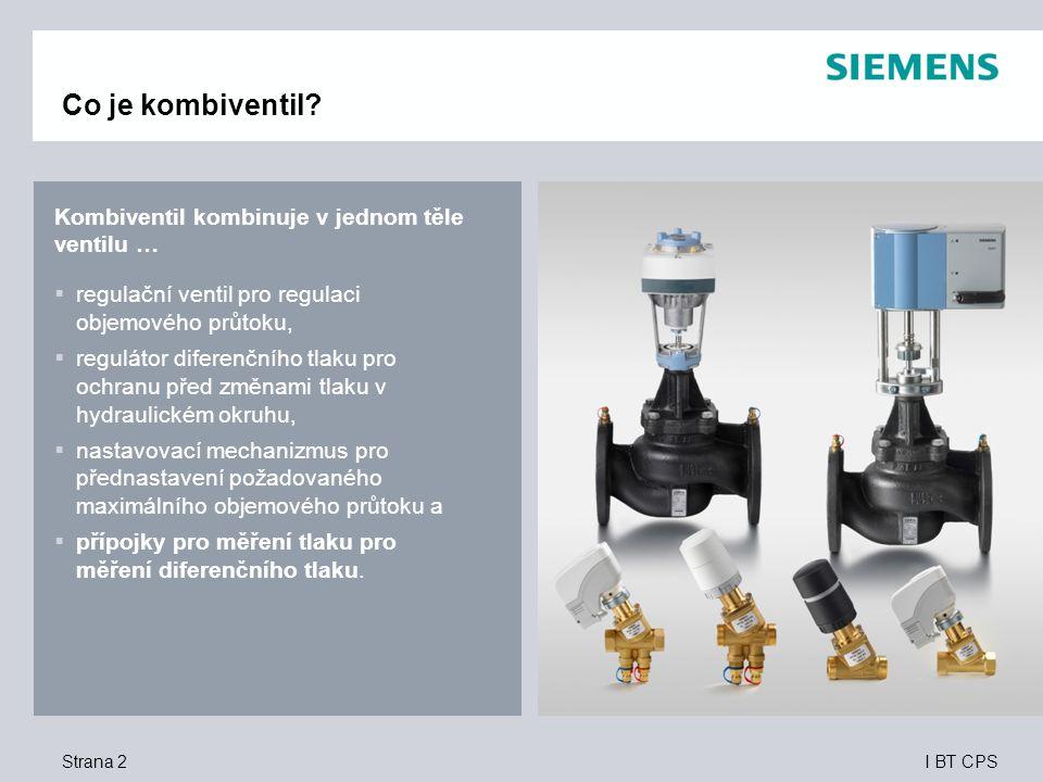 I BT CPS Kombiventil kombinuje v jednom těle ventilu …  regulační ventil pro regulaci objemového průtoku,  regulátor diferenčního tlaku pro ochranu před změnami tlaku v hydraulickém okruhu,  nastavovací mechanizmus pro přednastavení požadovaného maximálního objemového průtoku a  přípojky pro měření tlaku pro měření diferenčního tlaku.