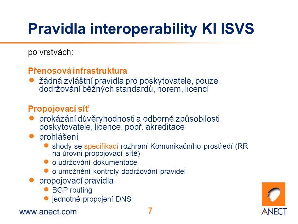 7 Pravidla interoperability KI ISVS po vrstvách: Přenosová infrastruktura žádná zvláštní pravidla pro poskytovatele, pouze dodržování běžných standardů, norem, licencí Propojovací síť prokázání důvěryhodnosti a odborné způsobilosti poskytovatele, licence, popř.