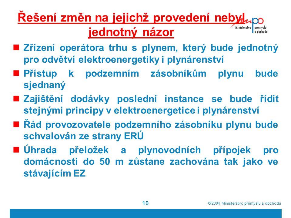  2004  Ministerstvo průmyslu a obchodu 10 Řešení změn na jejichž provedení nebyl jednotný názor Zřízení operátora trhu s plynem, který bude jednotný pro odvětví elektroenergetiky i plynárenství Přístup k podzemním zásobníkům plynu bude sjednaný Zajištění dodávky poslední instance se bude řídit stejnými principy v elektroenergetice i plynárenství Řád provozovatele podzemního zásobníku plynu bude schvalován ze strany ERÚ Úhrada přeložek a plynovodních přípojek pro domácnosti do 50 m zůstane zachována tak jako ve stávajícím EZ