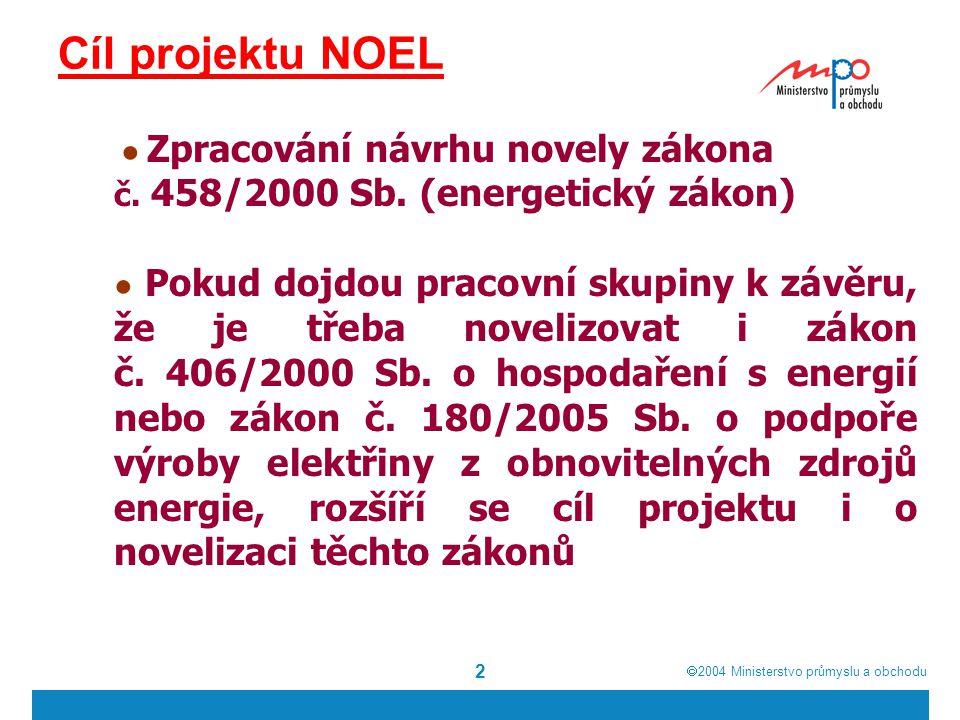  2004  Ministerstvo průmyslu a obchodu 2 Cíl projektu NOEL ● Zpracování návrhu novely zákona č.