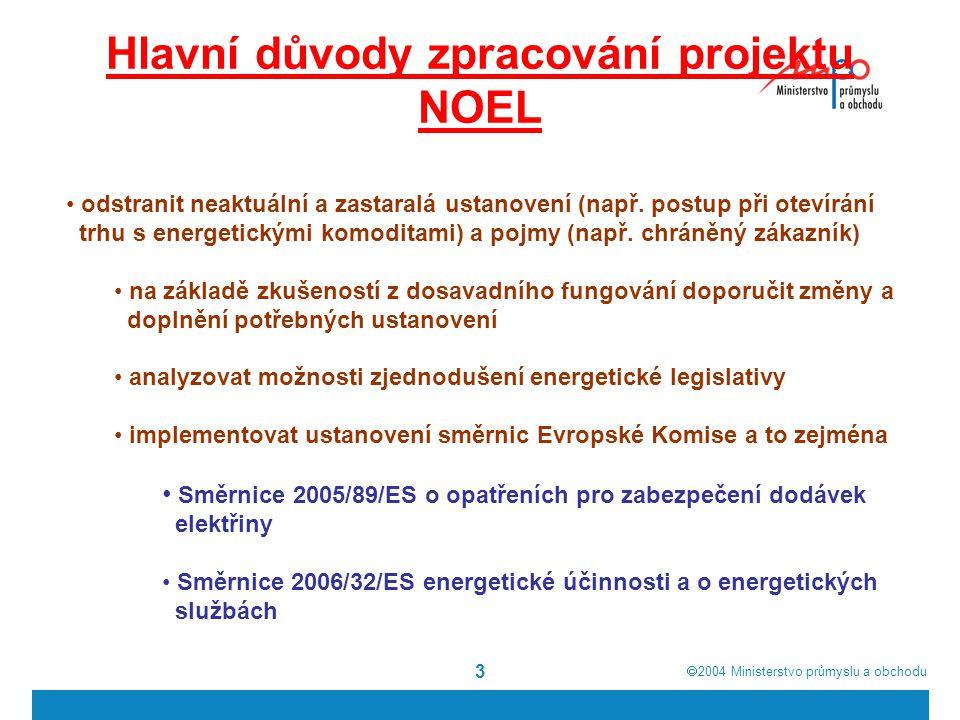  2004  Ministerstvo průmyslu a obchodu 3 Hlavní důvody zpracování projektu NOEL odstranit neaktuální a zastaralá ustanovení (např.