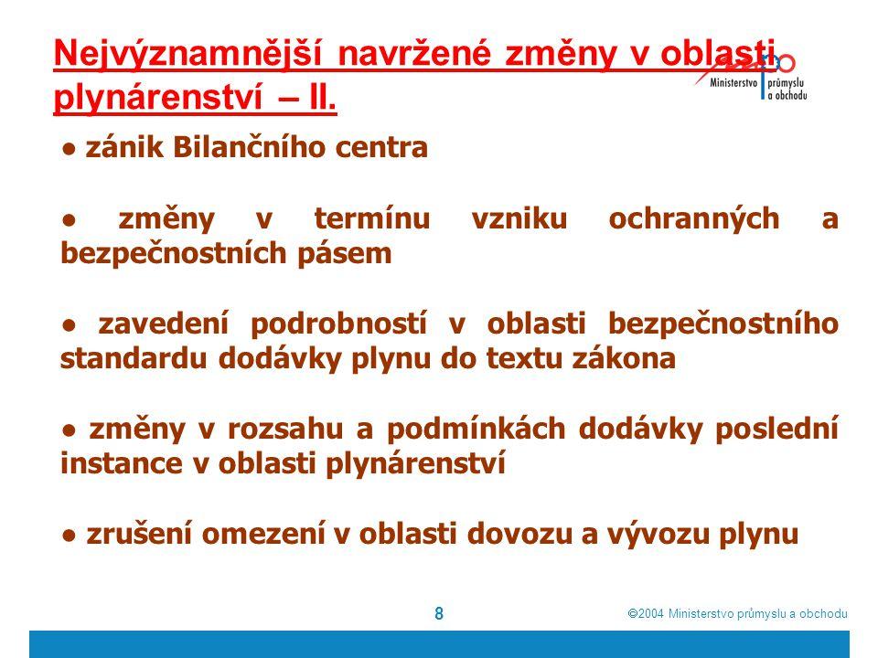 2004  Ministerstvo průmyslu a obchodu 8 Nejvýznamnější navržené změny v oblasti plynárenství – II.