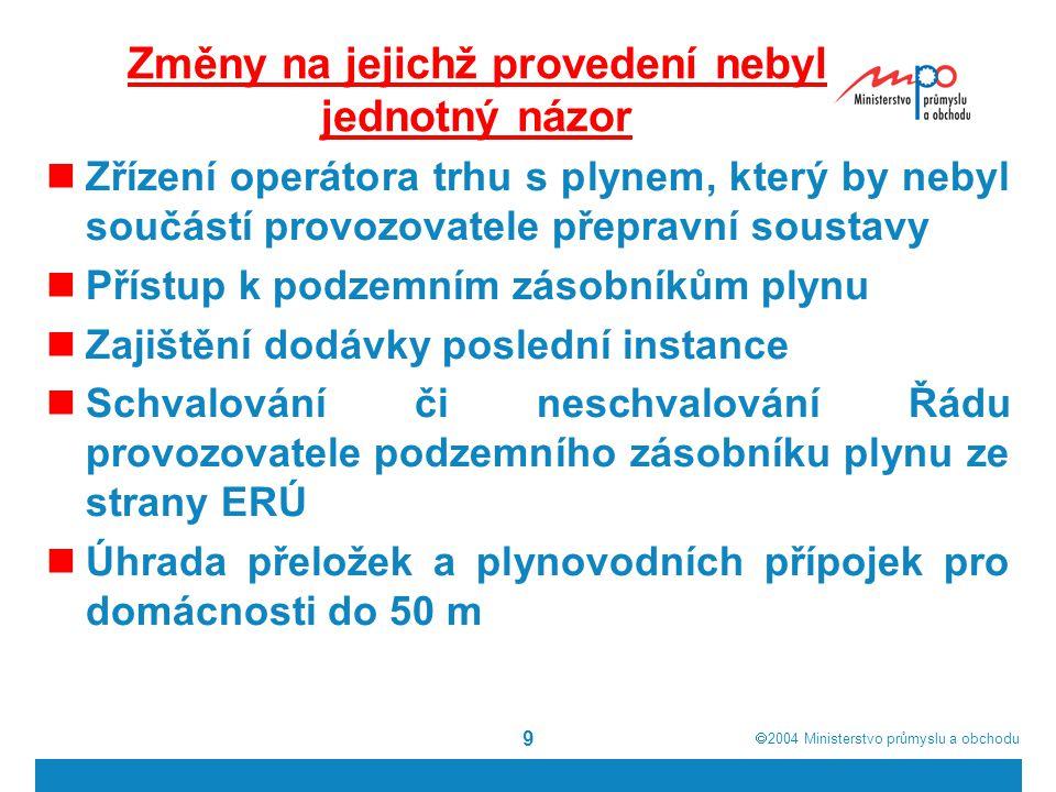  2004  Ministerstvo průmyslu a obchodu 9 Změny na jejichž provedení nebyl jednotný názor Zřízení operátora trhu s plynem, který by nebyl součástí provozovatele přepravní soustavy Přístup k podzemním zásobníkům plynu Zajištění dodávky poslední instance Schvalování či neschvalování Řádu provozovatele podzemního zásobníku plynu ze strany ERÚ Úhrada přeložek a plynovodních přípojek pro domácnosti do 50 m