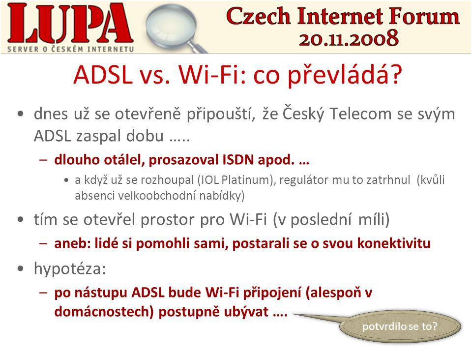 problém: u ADSL: –ví se (skoro úplně) přesně, kolik je přípojek u kabelu: –víceméně také u Wi-Fi: –existovaly jen odhady více či méně kvalifikované použito ještě při ART 12 –dnes už jsou známy přesnější údaje použity už při ART 5 kde se vzaly přesnější údaje.