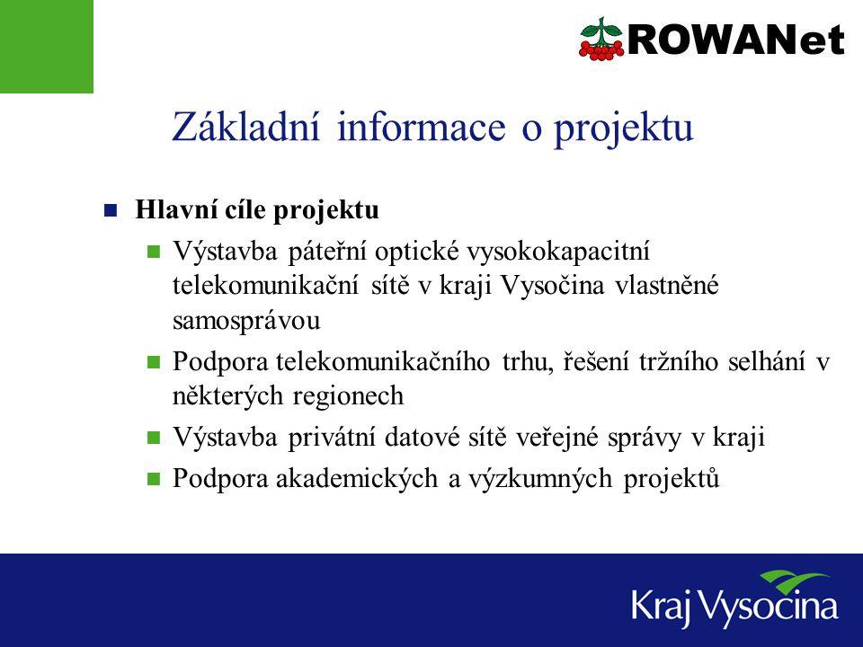 Základní informace o projektu Hlavní cíle projektu Výstavba páteřní optické vysokokapacitní telekomunikační sítě v kraji Vysočina vlastněné samosprávou Podpora telekomunikačního trhu, řešení tržního selhání v některých regionech Výstavba privátní datové sítě veřejné správy v kraji Podpora akademických a výzkumných projektů